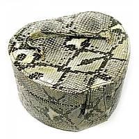 "Шкатулка для украшений змеиная кожа ""Сердце""черно-серая 13х15х10 см 25207A"