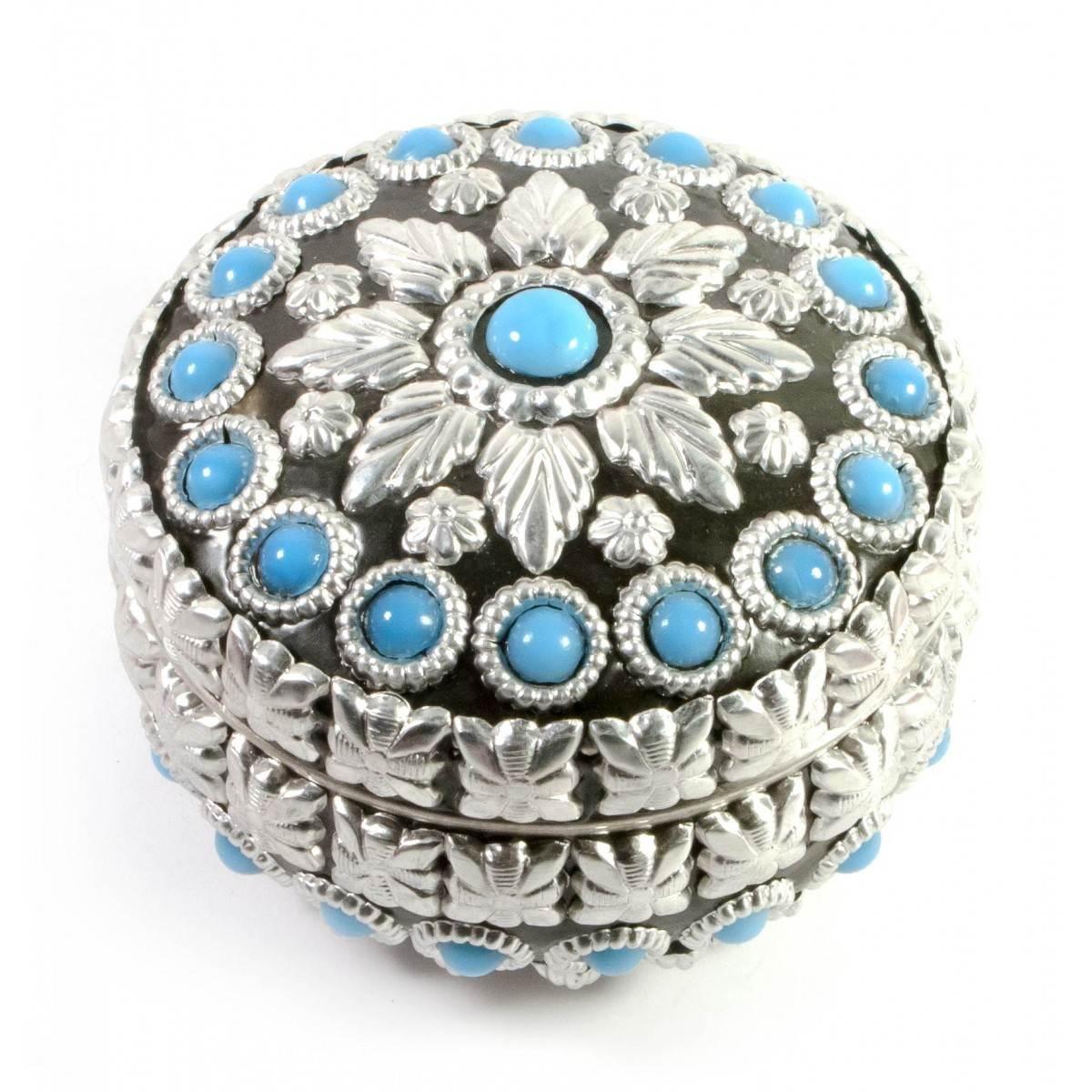 Шкатулка металическая с голубыми камнями d- см h-6 см 29319B