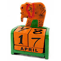 """Календарь настольный """"Слон"""" дерево зеленый 15х10х5 см 29637A"""