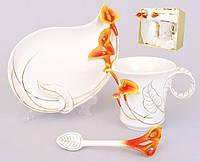 Подарочный набор Кала 3пр.: чашка 160мл + блюдце + ложка BonaDi 270-A38