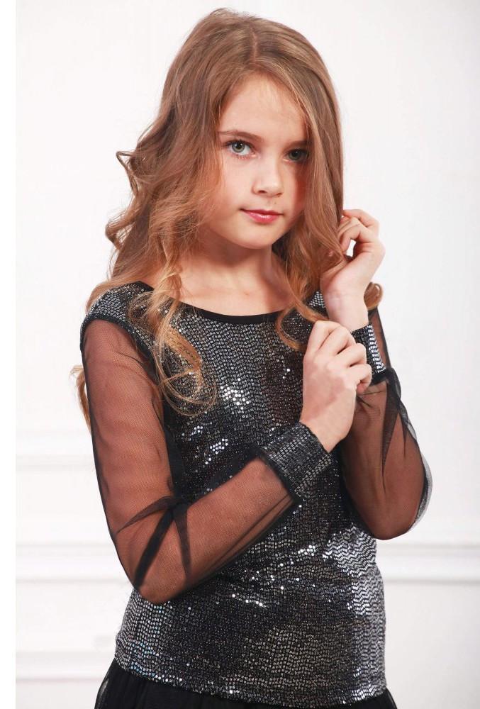 Кофта черного цвета блестящая для девочки, Marions