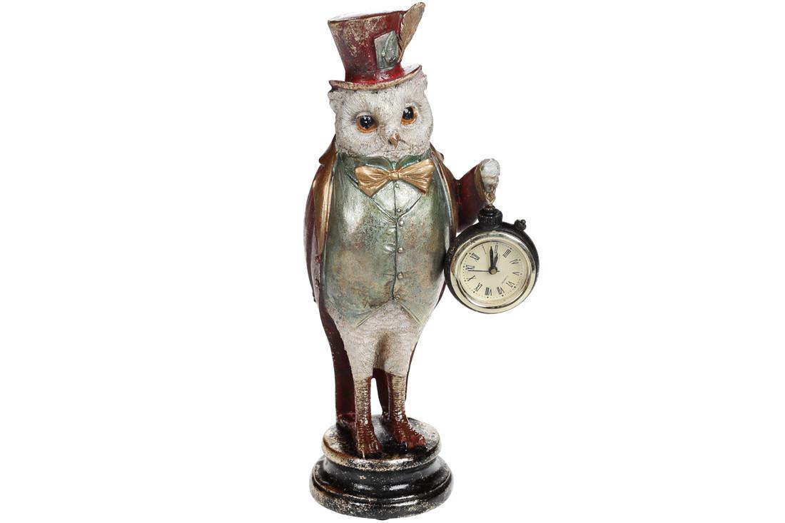 Декоративная фигура с часами Сова, 30см, цвет - красный, полистоун (419-190)