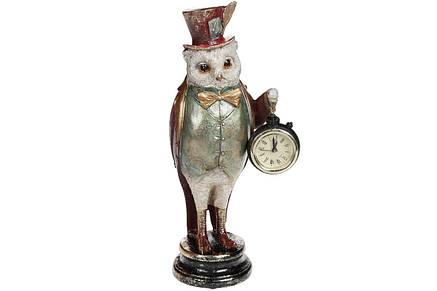 Декоративная фигура с часами Сова, 30см, цвет - красный, полистоун (419-190), фото 2