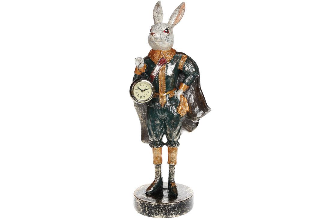Декоративна фігура з годинником Кролик 44см, полістоун (419-188)