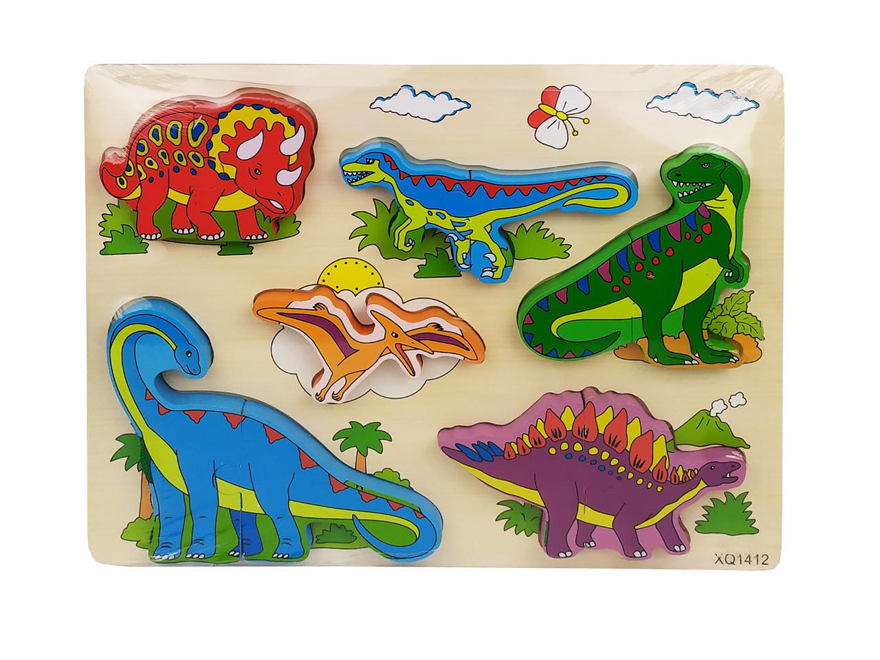 Деревянная игрушка Рамка-вкладыш MD 1213-8 (Динозавры) пазлы.