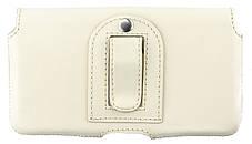 Кожаный футляр на пояс для смартфонов 5,5-6 дюймов Светло-бежевый (С-918/Note св.беж.), фото 2