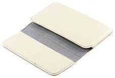 Кожаный футляр на пояс для смартфонов 5,5-6 дюймов Светло-бежевый (С-918/Note св.беж.), фото 3