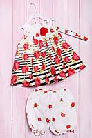 Комплект летний для девочки: платье, шортики и повязка, хлопок Wandees 92(см) Шампань-Роза (56178)