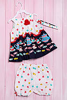Комплект летний для девочки: платье, шортики и повязка, хлопок Wandees 92(см) Шампань-Конфета (56178)