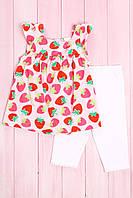 Комплект для девочки: Туника с коротким рукавом и леггинсы, хлопок Carter's 86(см) Розовый-Красный микс (56039)