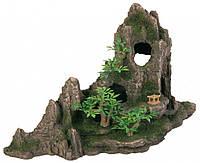 Аквариумная декорация Скала с пещерой и растениями Trixie (45x22x28 см)