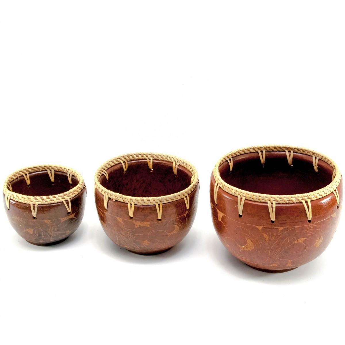 Чаши терракотовые набор 3 шт d-16 h-12,5 см d-13,5 h-10,5 см d-11 h- 8,5см 30295