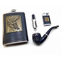 Фляга с трубкой,ножом и зажигалкой в подарочной упаковке 24х17,5х4 см 32226