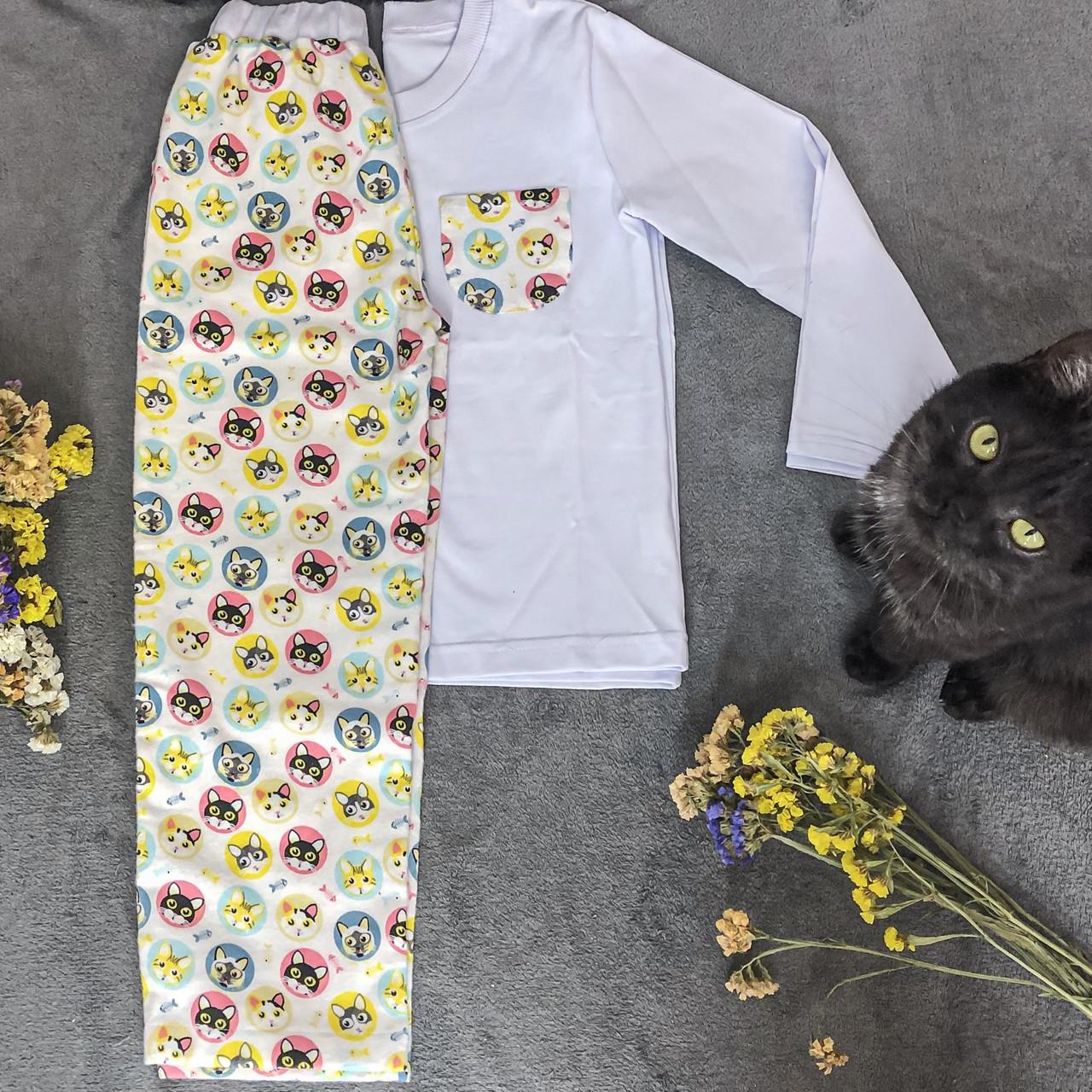 Детская фланелевая пижама с кофтой Котики 116