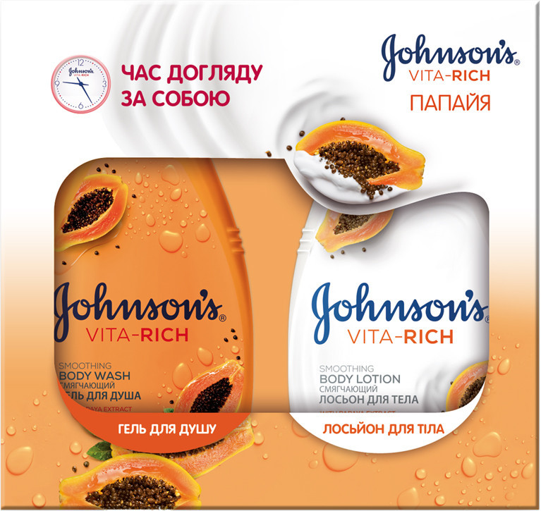 "Набoр Johnson's Vita Rich ""Папайя"" (гель для душа + лосьон для тела)"