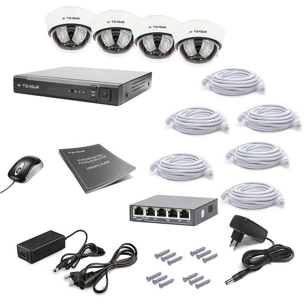 Комплект IP видеонаблюдения Tecsar IP 4DOME LUX