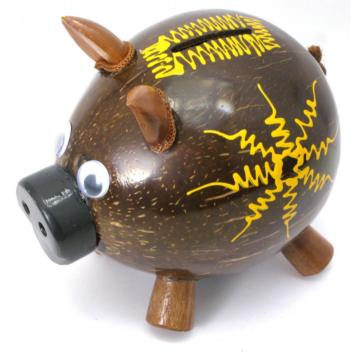 "Копилка ""Свинка"" кокосовая 14х15х10 см 29677"