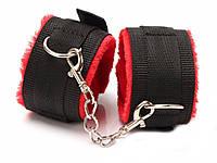 Наручники на ноги для БДСМ  Черный с красным