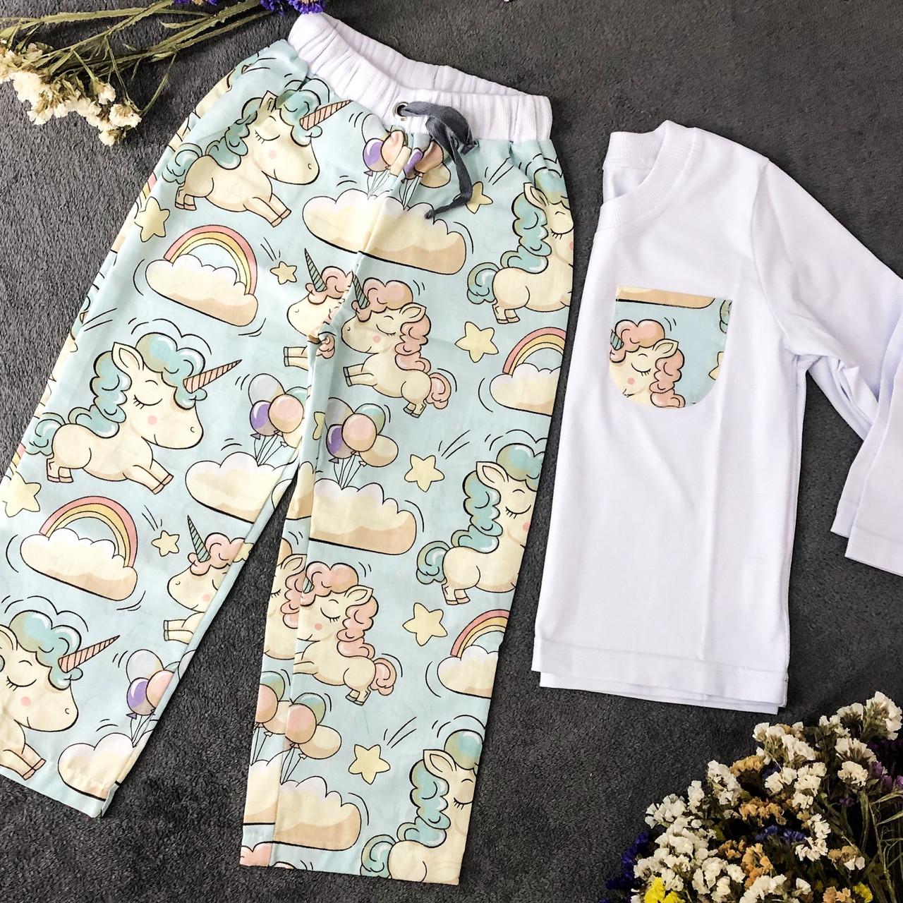 Хлопковая пижама с кофтой Единороги XL