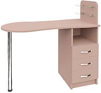 Маникюрный стол с ящиками и стеклянными полочками Эстет №1 М101 Кофейный, Кофейный