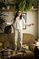 Детская хлопковая пижама с кофтой Единороги 140 см, фото 1