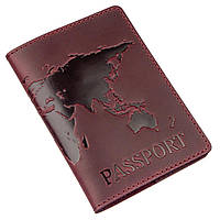 Обложка на паспорт Shvigel 13955 кожаная матовая Сливовая, фото 1