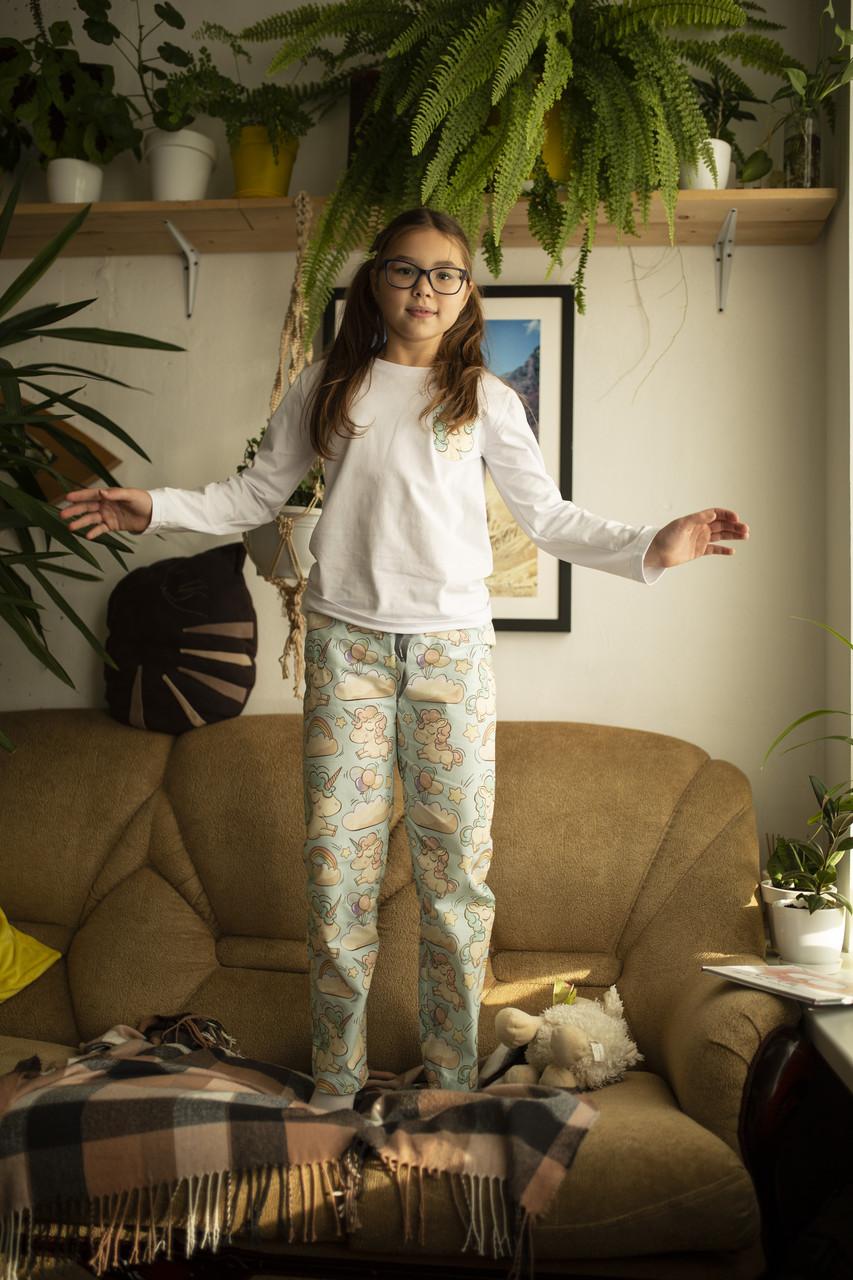 Детская хлопковая пижама с кофтой Единороги 128 см