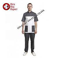 Медицинский костюм Берлин белый/серый №130