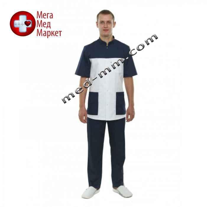 Медицинский костюм Берлин белый/синий №129