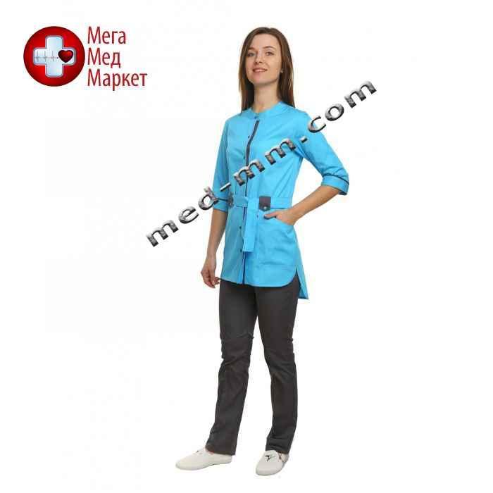 Медицинский костюм Дели голубой/серый №1072