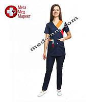 Медицинский костюм женский Рио синий/комби №1065