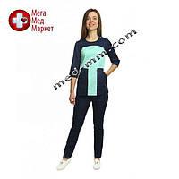 Медицинский костюм женский Фиджи мятный/синий № 1064