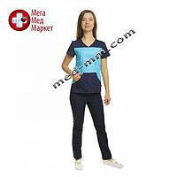 Медицинский костюм Сидней голубой/синий №1063