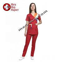 Медицинский костюм женский Рио красный/комби №1061