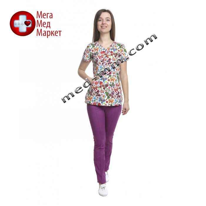 Медицинский костюм женский Бали принт/фиолет № 1059