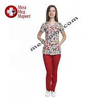 Медицинский костюм женский Бали принт/красный №1057