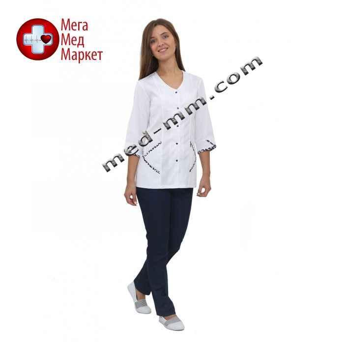 Медицинский костюм Куба белый/синий №1054