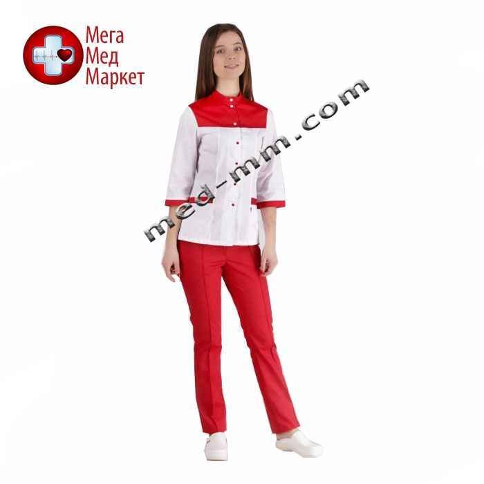 Медицинский костюм Амстердам белый/красный №1041