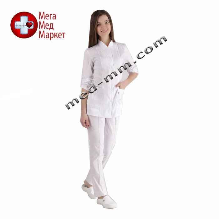 Медицинский костюм Женева женский белый котоновый №1028