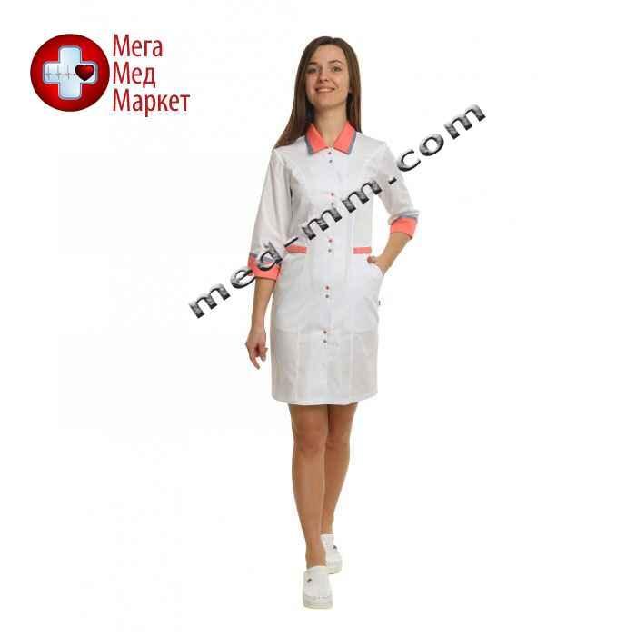 Медицинский халат женский Оксфорд белый/коралловый №97