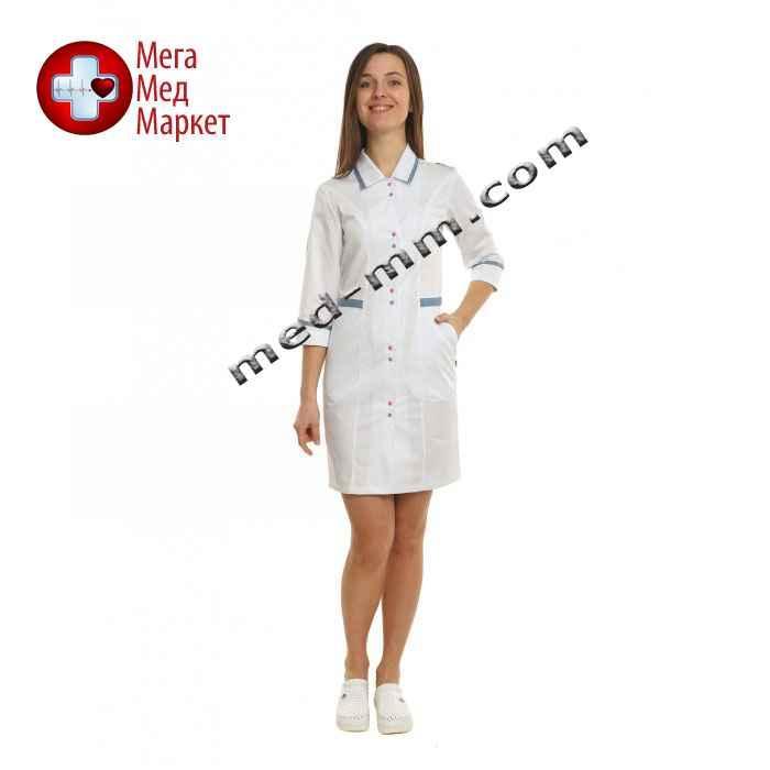 Медицинский халат женский Оксфорд белый/светло серый №96