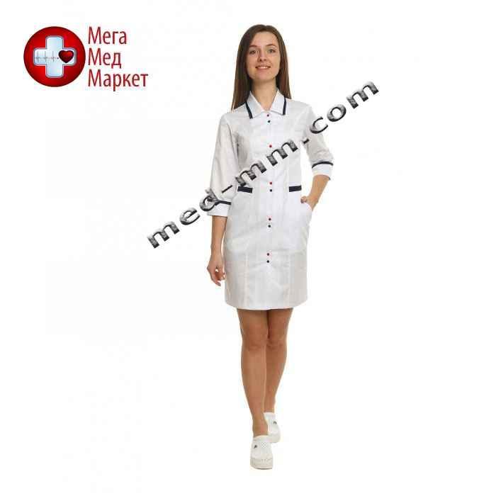 Медицинский халат женский Оксфорд белый/синий №93