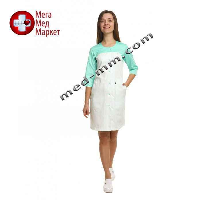 Медицинский халат женский Севилья белый/мятный №85