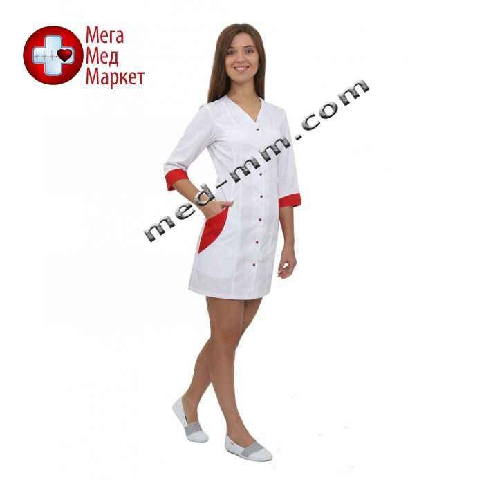Медицинский халат женский Ибица белый/красный №65