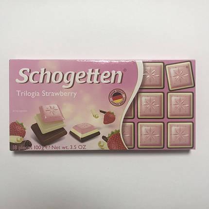 Шоколад молочный, белый «Schogetten» Trilogia Strawberry (клубника), 100 г., фото 2