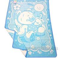 Детское двухстороннее одеяло Влади Мишка жаккардовое голубое 100х140 см