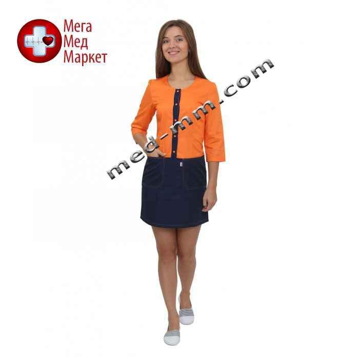 Медицинский халат женский Милан оранжевый/синий №75