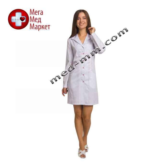 Медицинский халат женский Бостон белый - красная строчка №57