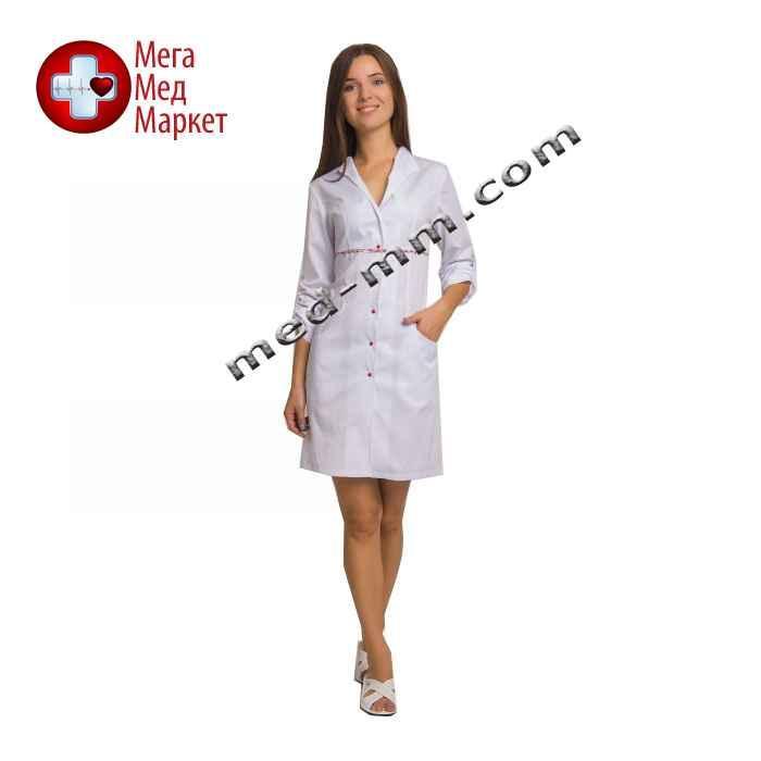 Медицинский халат женский Бостон белый/красный печворк №58