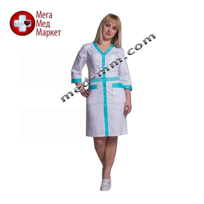Медицинский халат женский Палермо белый/мятный №77